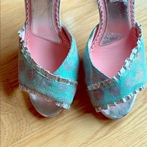 Vintage Betsey Johnson mint teal and silver heels